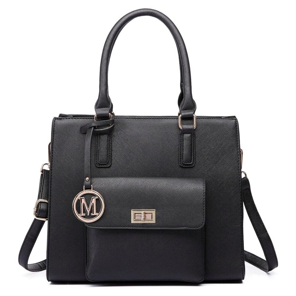 ФОТО MISS LULU women girl Handbag  high quality faux leather Front Pocket Tote Bag Handbags Top Magnet Button closure crossbody bags