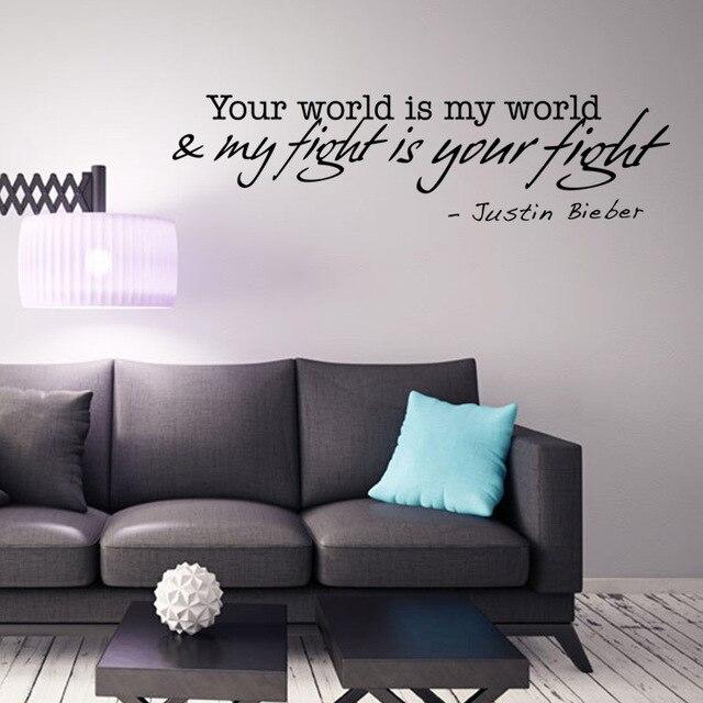 Justin Bieber Liefde Woorden Muurstickers Citaat Decoraties ...