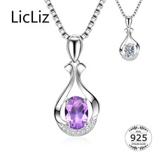 LicLiz 925 Sterling Silver Purple Cusion Necklace Pendant for Women Crystal DIY Pendant Paved Zircon White Gold Jewelry LN0417 licliz 925 sterling silver flower pendant for women cz crystal diy necklace pendant heart purple zircon stones white gold lp0261