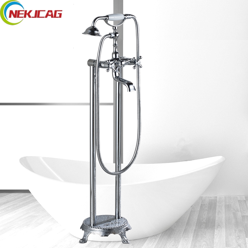 Dual Hand Wheel Floor Stand Bathtub Faucet Free Standing Bath Shower Mixer Set Output Bathroom Faucet