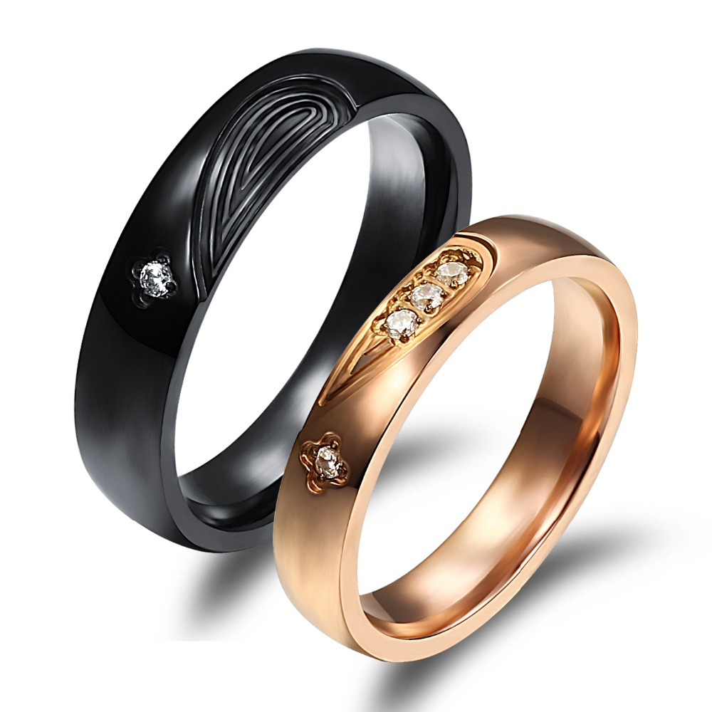 Hot Sale Fashion Jewelry Couple Rings Romantic Black Rose Color Heart Puzzle  Stainless Steel Cz Women