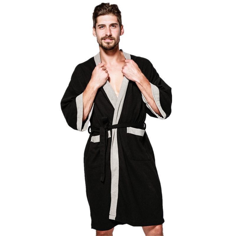 Men's Waffle Bath Robes Dressing Gown Sleeve Solid Soft Bathrobe Peignoir Nightgowns Sleepwear Kimono