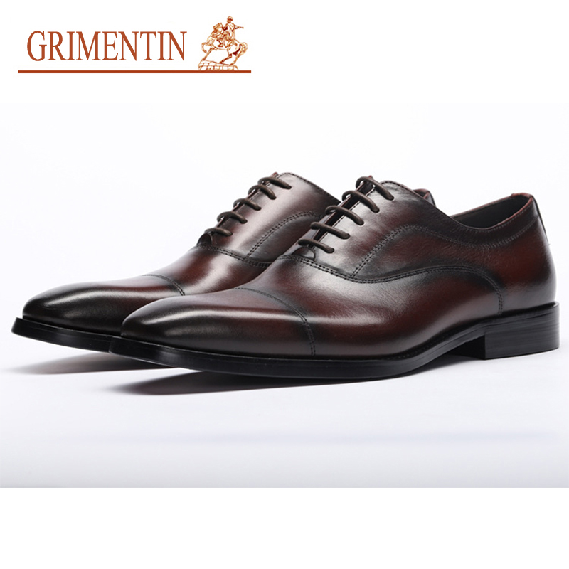 GRIMENTIN Brand Mens Wedding Shoes Hot Sale Genuine Leather Pointed Toe Black Brown Italian Office Business Men Formal ShoesGRIMENTIN Brand Mens Wedding Shoes Hot Sale Genuine Leather Pointed Toe Black Brown Italian Office Business Men Formal Shoes