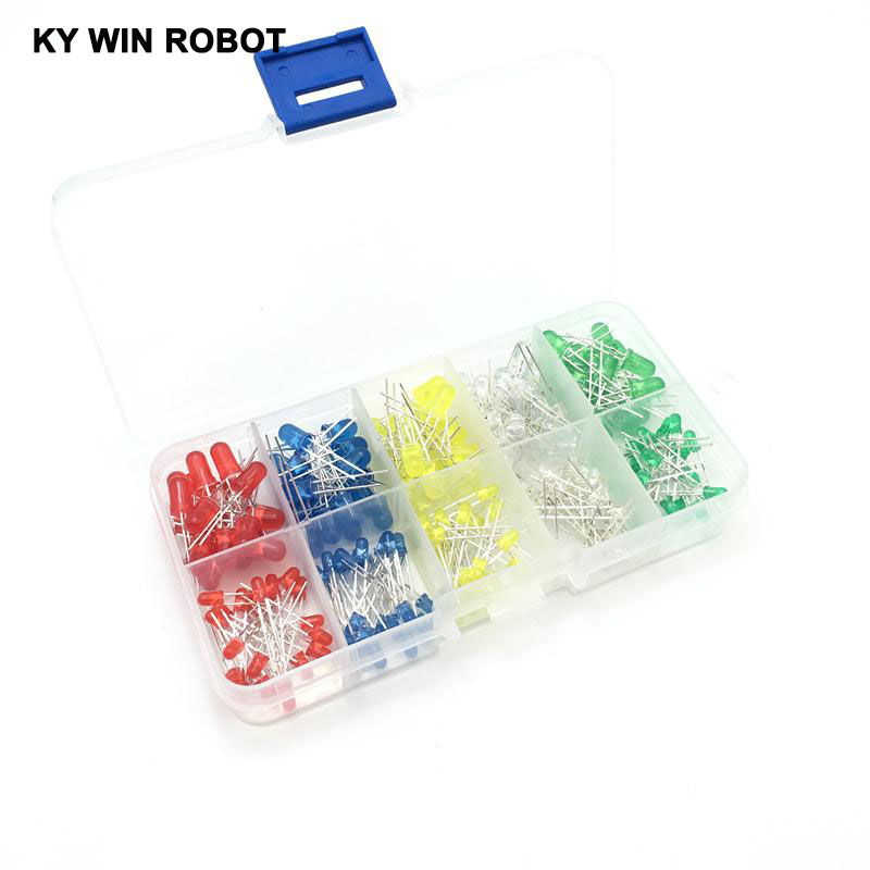 200PC/Lot 3MM <font><b>5MM</b></font> <font><b>Led</b></font> Kit With Box Mixed Color <font><b>Red</b></font> Green Yellow Blue White Light Emitting Diode Assortment 20PCS Each New image