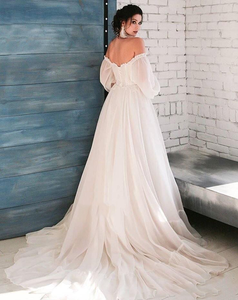 LORIE Boho Ivory Wedding Dress A-Line Appliques Puff Sleeves Bride Dress  White Lace Top Wedding Gown Free Shipping 2019