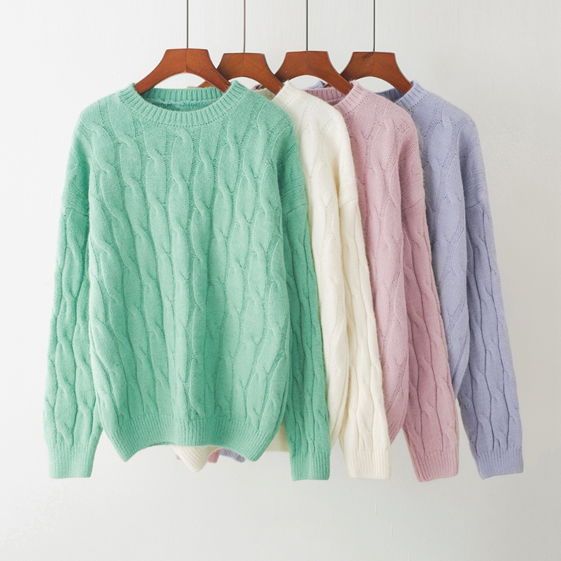 Spring Autumn new woman long sleeve loose pullovers female cashmere alpaca wool fiber ugly sweater girl Loose Candy color lady
