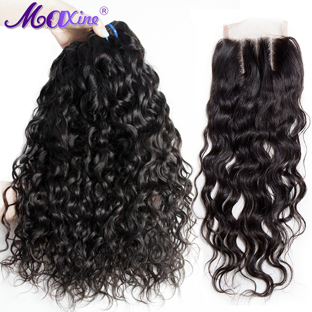 Maxine Hair 3 Bundles Brazilian Water Wave With 4x4 Three Part Closure Human Hair Weave Bundles With Lace Closure Non Remy 4 Pcs