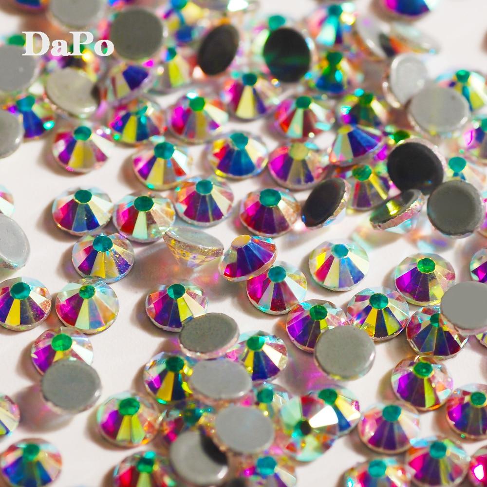 AAAA Crystal AB Best Quality Hot Fix Flat Back Shine Multi-Size Iron On Hotfix  Glass 3D Rhinestone Stones Gem For DIY Clothing e75c22230582