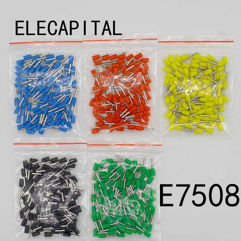 E7508 100PCS/Pack Tube insulating Insulated terminals 0.75MM2 Cable Wire Connector Insulating Crimp Terminal Connector E-