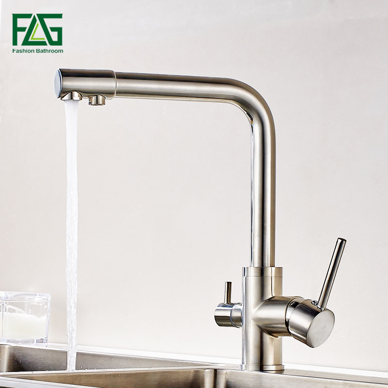 FLG Filter Kitchen Faucets Deck Mounted Mixer Tap 360 Rotation with Water Purification Features Nickel Brushed