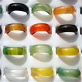 New Hot 50Pcs/Lot Mixed Vintage Natural Agate Ring For Women Unisex Fashion Charm Finger Rings Jewelry Gifts Wholesale