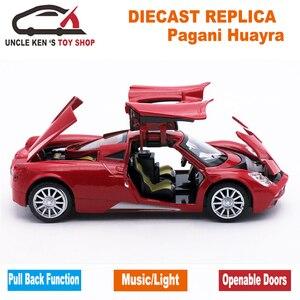 Image 3 - Коллекция литого под давлением, масштабная модель Pagani Huayra для мальчиков/Детская Металлическая Игрушечная машина, подарок с открывающимися дверями и функцией Оттяжки