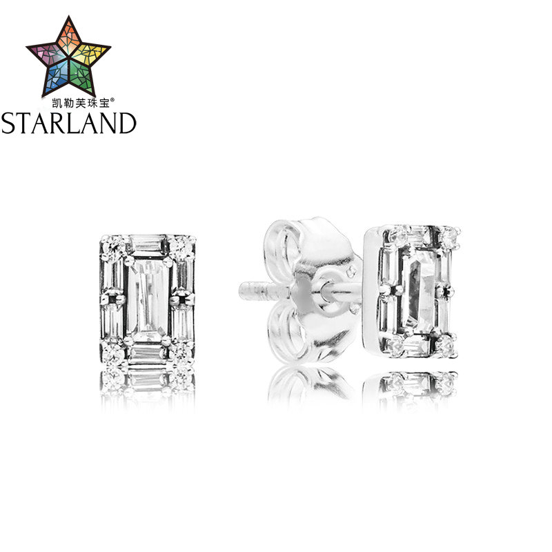 Starland 100% 925 Sterling Silver Crystal icicle fashion temperament CZ Earrings Fit woman Gif