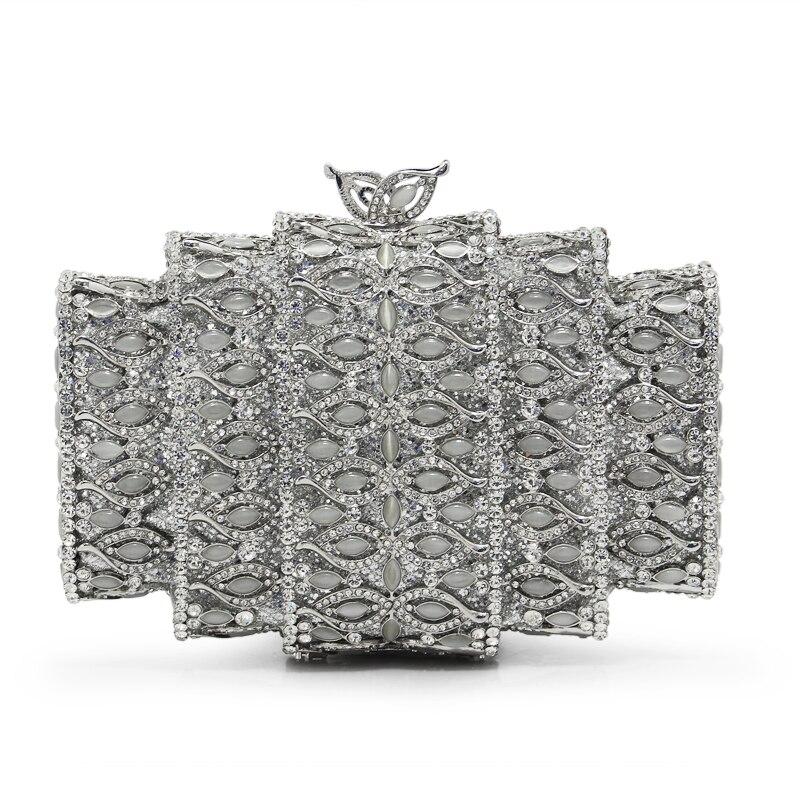 Marque de luxe Femmes de Soirée Sacs Dames À La Main Cristal Strass Embrayage Sac Femelle Or Ruban Couleur Partie Embrayages (88241-SS)