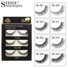 SHIDISHANGPIN 3 pairs mink eyelashes natural false lashes wispy 3d mink lashes makeup false eyelashes eyelash extension lashes