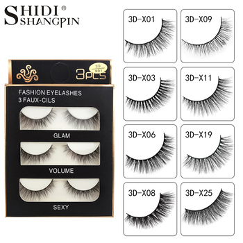 SHIDISHANGPIN 3 pairs mink eyelashes natural false lashes wispy 3d mink lashes makeup false eyelashes eyelash extension lashes