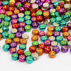 Multicolor Mix 7mm Round Shape Resin Beads 500Pcs Random Sent Russian Letter Beads for Jewelry Making DIY Spacer Letter Beads