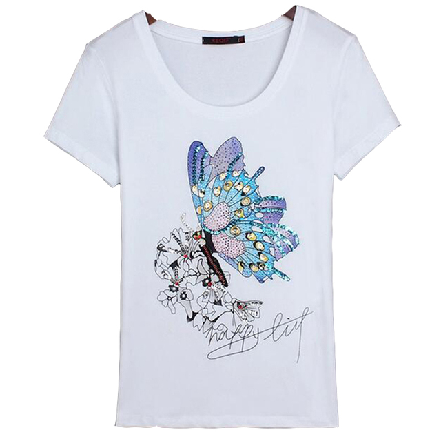 a24cbea4 Butterfly Beaded Black White Tees M-3XL T Shirt Women Cotton Elastic T-shirts  Female Casual Tops Short Sleeve T-shirt Women
