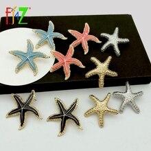 F.J4Z Hot Seafish Earrings for Women Vintage Enamel Big Sea Star Stud 2019 Summer Beach Jewelry Dropship