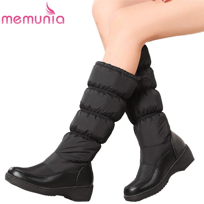 MEMUNIA Più Il formato 35-44 Russia mantenere scarponi da neve caldi stivali donna rotonda della piattaforma della punta stivali alti al ginocchio di inverno della pelliccia stivali donna stivaletti
