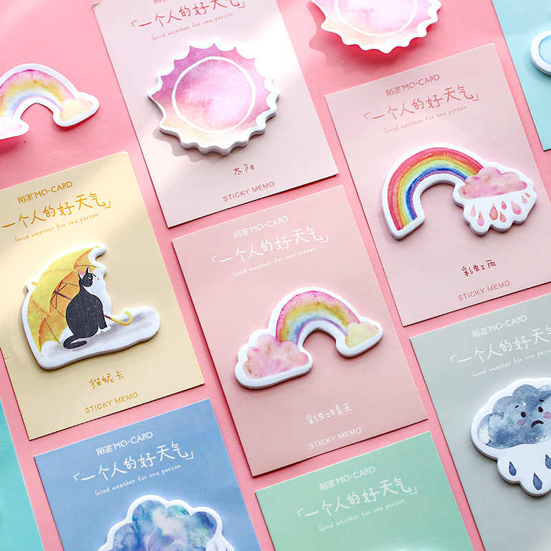 Weather Rainbow Cat N Times блокнот с милым облаком самоклеящаяся клейкая закладка для заметок канцелярская этикетка блокнот школьные принадлежности
