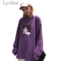 Личи Мода мультфильм демон печати Фиолетовый Для женщин футболка с длинными рукавами и круглым вырезом Женская футболка Повседневное своб...