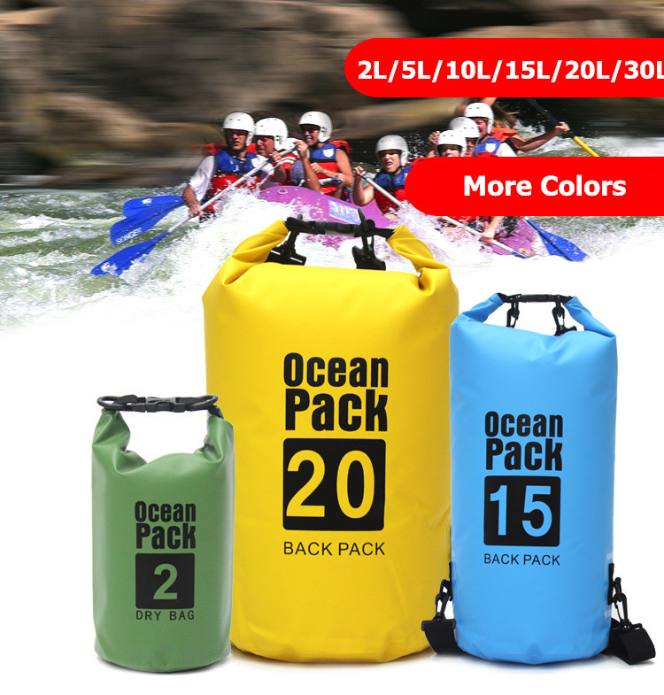 2/5/10/15/20/30L Ocean Pack Portable Rafting Diving Dry Bag Sack PVC Waterproof Folding Swimming Storage Bag For River Trekking