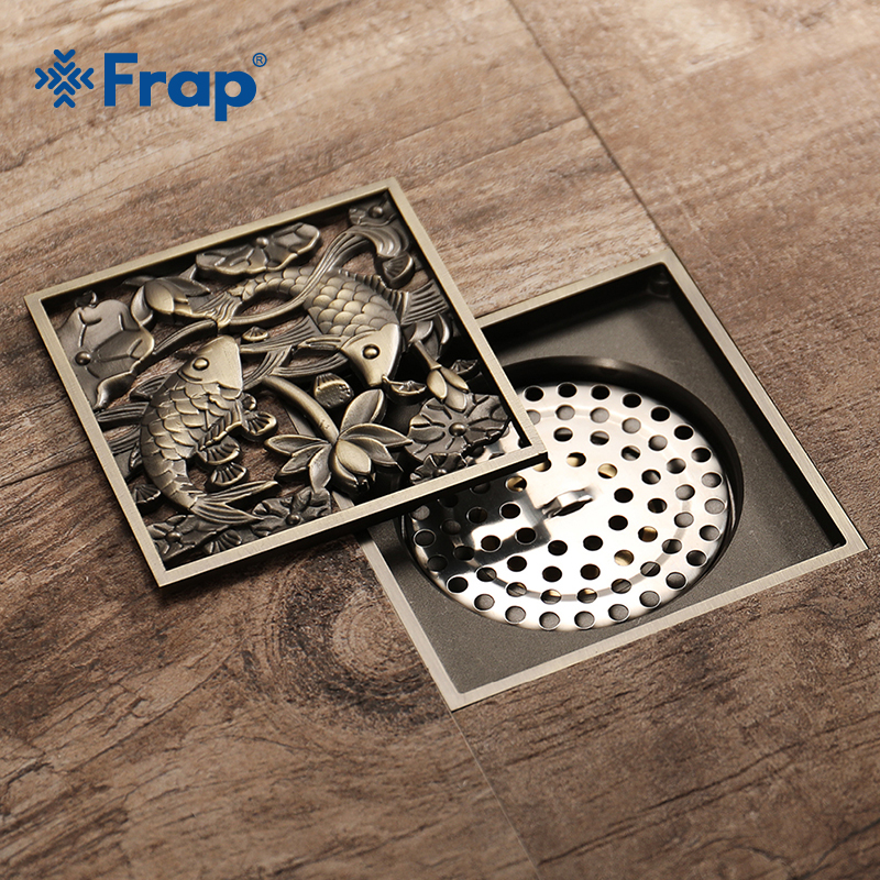 FRAP Antique Bronze Bathroom Fish Lotus Pattern Brass Copper Deodorant Bathroom Shower Floor Drain for Kitchen Balcony Y38065 new for sony vgn fj series laptop us keyboard 147951221 black