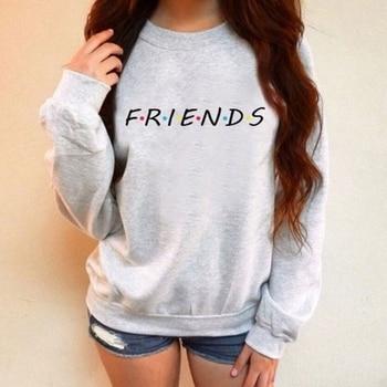 KLV Women Friends Sweatshirt Casual Winter Autumn Warm Hoodies Letter Print Soft O-Neck Chic Pullover Black Gray New