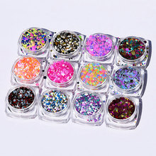Okrągły kształt konfetti paznokci błyszczące cekiny 1mm 2mm 3mm mieszane HOLO paznokci błyskotka brokat 12jar/zestaw zdobienie paznokci dekoracje
