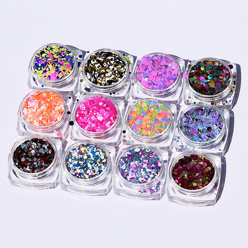 Round Shape Confetti Nail Glitter Sequins 1mm 2mm 3mm Mixed HOLO Paillette 12jar/set Art Decoration