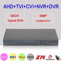 5MP,4MP,1080P,960P,720P,960H Surveillance Camera Hi3531D 32CH 32 Channel 6 in 1 Coaxial Hybrid NVR CVI TVI AHD DVR Free Shipping