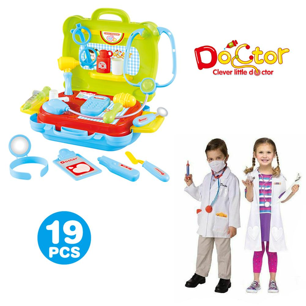 19 Pcs Children Pretend Play Simulation Doctor Toy Kit  Portable Suitcase Medical Set Kids Educational Role Play Classic Toys
