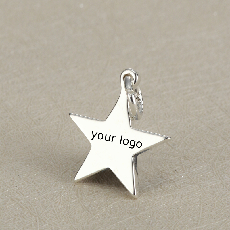 15mm Custom Star Tag Stainless Steel Charm-customized Charm Engrave Laser Your Own Logo