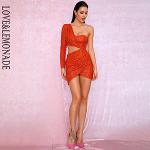 Image 5 - Aşk ve limonata seksi turuncu kesip tek kollu Glitter tutkal boncuk malzemesi Bodycon parti elbise LM81650