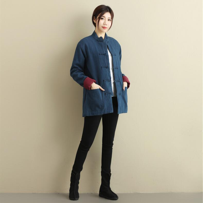 Unisex Chinese Cashmere double breasted coat folk style short pure Linen Outer layer cotton linen overcoat outwear casual outfit in Tops from Novelty Special Use