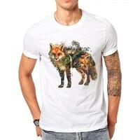 Stunning Pattern Red Fox And Horse Design Men S T Shirt Short Sleeve Casual T Shirt