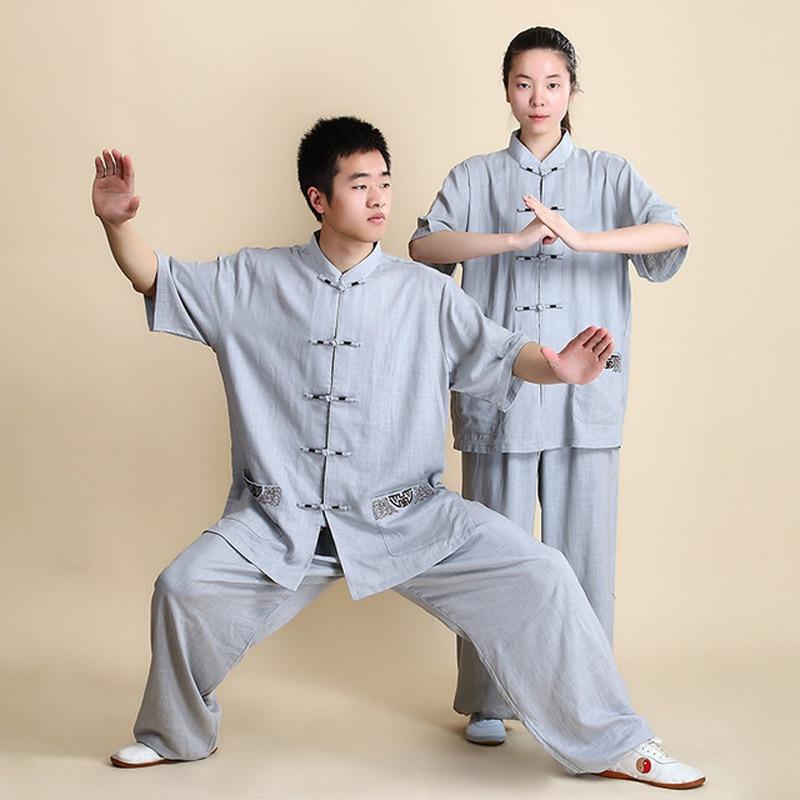 Одежда для мужчин и женщин Tai Chi, костюм для уличной ходьбы из хлопка и льна|Наборы| | АлиЭкспресс