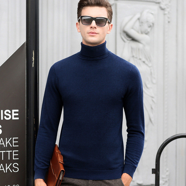 Wool Pullover Men Sweater Brand New Man's Cashmere Sweater Winter Turtleneck Casual Long Sleeve Pullovers Christmas Knit Sweater