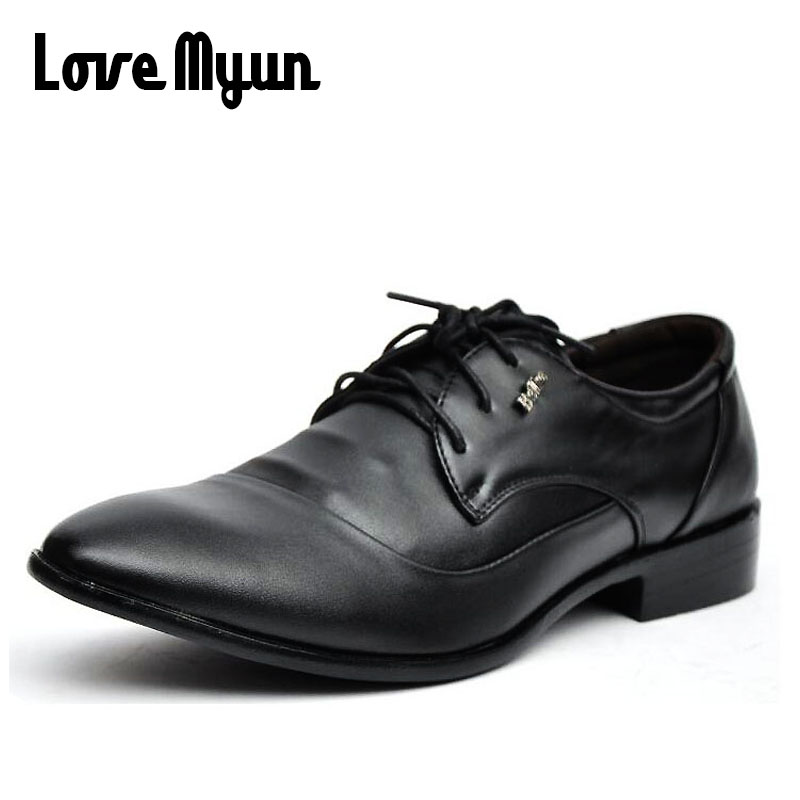 Cheapest Working dress black shoes mens pu leather Oxfords business wedding white shoes lace up Pointed toe leather flats AB-28 high quality carved black red mens dress oxfords lace up pointed toe genuine leather wedding mens business for work shoes