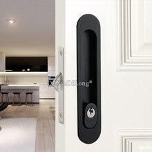 цена на High Quality 2PCS Recessed Hidden Sliding Door Locks Brass Mortise Hook Lock Set 4 Colors with Key / No Key