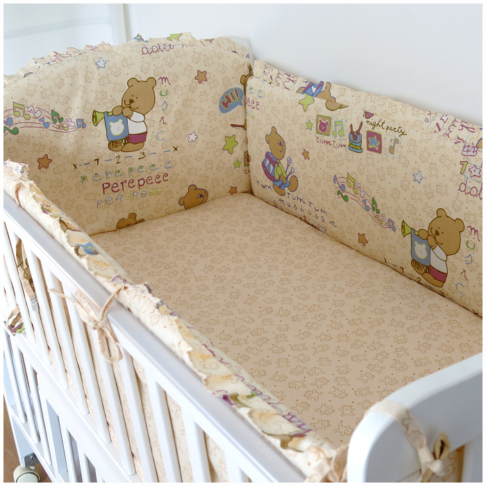 Promotion! 6PCS Bear Crib Bedding Crib Liner Baby Bedding Bumpers Bed Around Baby Cot Sets (bumper+sheet+pillow cover) promotion 6pcs baby bedding set cot crib bedding set baby bed baby cot sets include 4bumpers sheet pillow