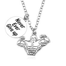 Punk Retro Muscle Male Sports Fitness Pendant Necklace Silver Men And Women Zinc Alloy Inspirational Necklace Jewelry Gift стоимость