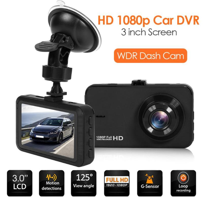Car DVR Dashboard-Camera Driving-Recorder 3inch Portable 1080p Full-Hd WDR Sucktion-Cup