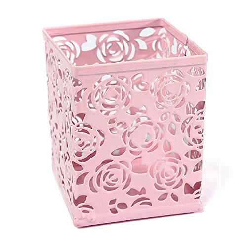 5pack Hollow Rose Flower Metal Pen Holder Office Desk Container Case free shipping pair accuphase audio speaker cable with banana plugs connector