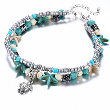 Fashion Double Layered Anklets for Women Conch Starfish Summer Beach Tortoise Pendant Chain Ankle Bracelet Femme square faux gemstone double layered cuff bracelet