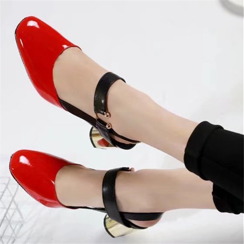 5efbb23863f5fb Sapato Sandalias Show Métal Chunky Chaussures Mode Talons Or Feminino  Brevet Femme Mujer Show D'été En As as Zapatos ...