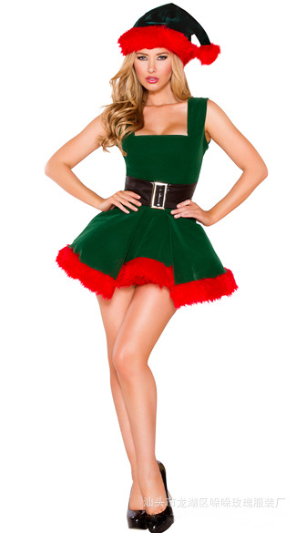 Hot Christmas Costumes For Women Deguisement Sexy Disfraz Mujer Mini Bubble  Skirt Green Trees Fantasias Outfits Sleeveless T1438-in Sexy Costumes from  ... - Hot Christmas Costumes For Women Deguisement Sexy Disfraz Mujer Mini