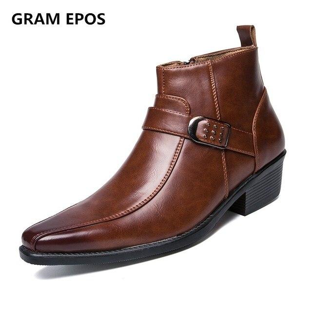 844675162a358 US $27.44 44% OFF GRAMM EPOS Männer Herbst Winter spitz höhe erhöhen  Reißverschluss hohe Spitzen stiefeletten männlichen kleid hohe tops High ...