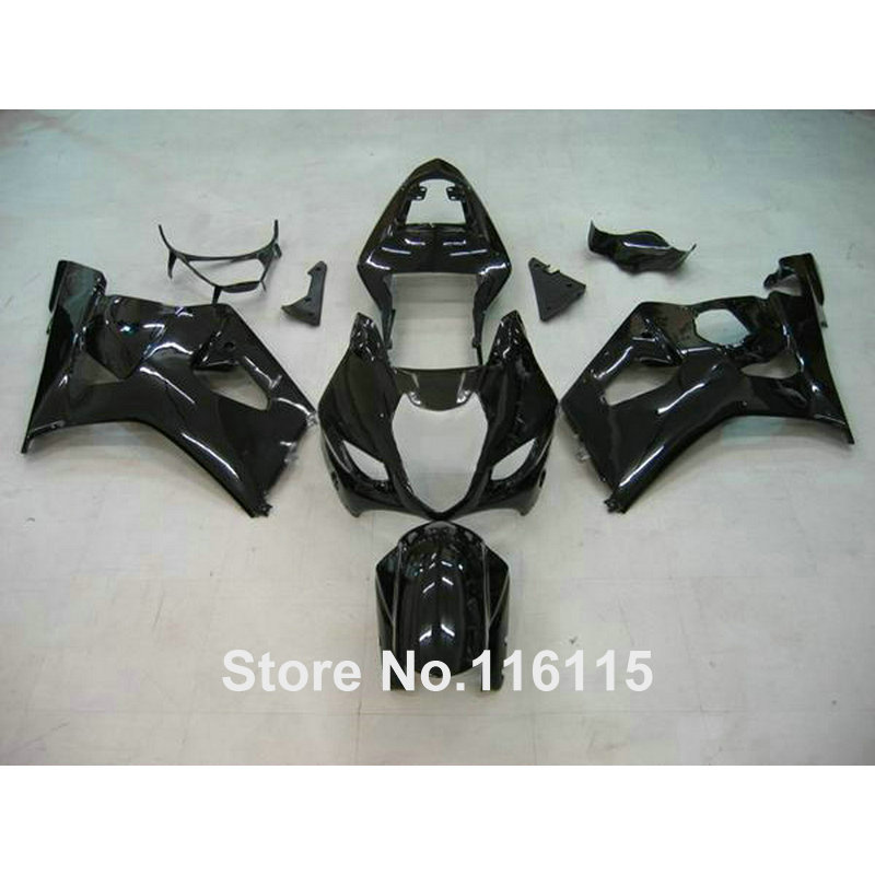 Injection molding ABS full fairing kit fit for SUZUKI GSXR1000 K3 K4 03 04 all glossy black fairings GSX-R1000 2003 2004 HX49